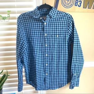 Merona Blue Checkered Plaid Button Down Casuals